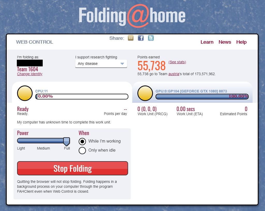 folding@home Weboberfläche
